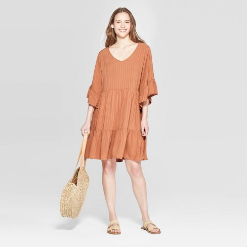 Women's Flutter 3/4 Sleeve V-Neck Mini Tiered Babydoll Dress - Universal Thread™ Brown - image 1 of 3