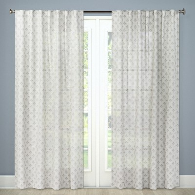 Sheer Curtain Panel Suzani Gray 54 x84  - Threshold™