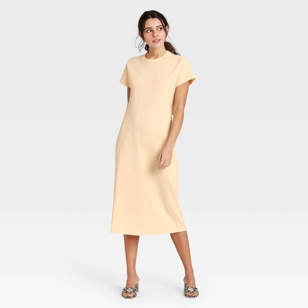 Women 39 S Short Sleeve Shift Dress Who What Wear 8482 Yellow Xl