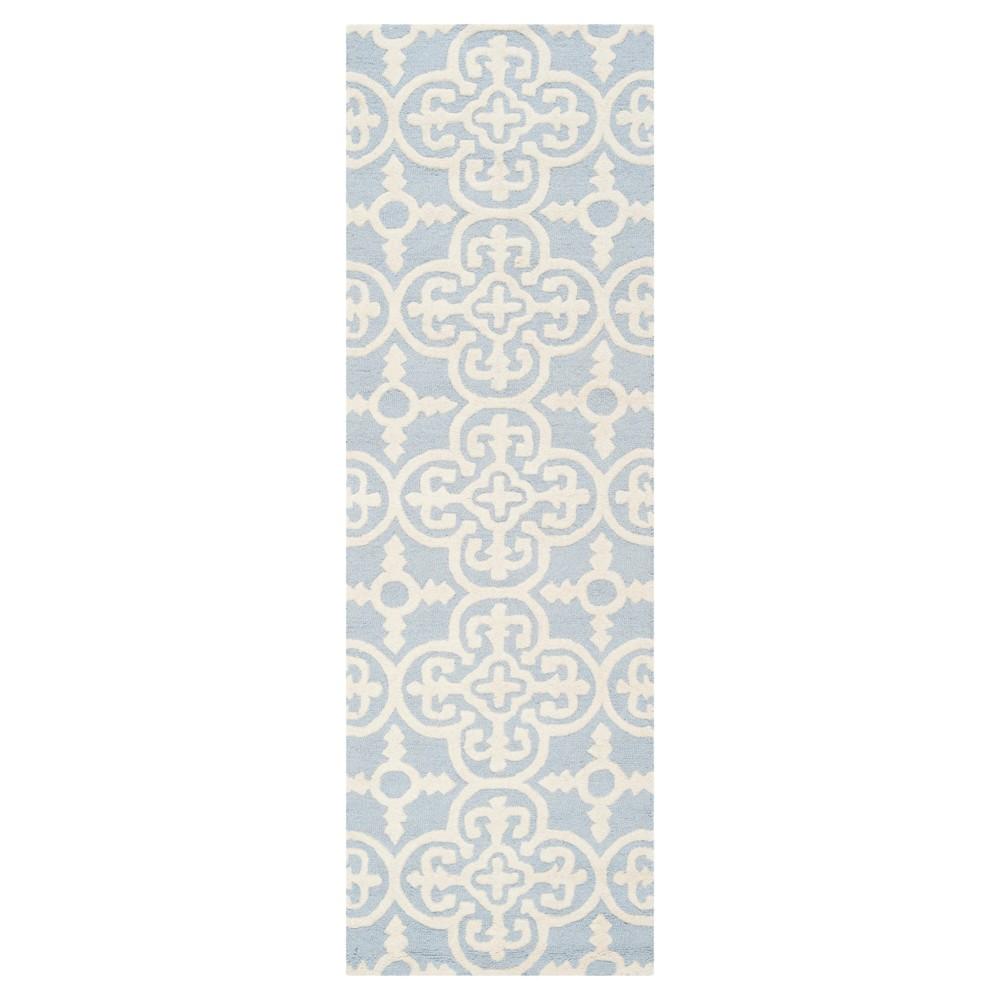2'6X8' Geometric Runner Light Blue/Ivory - Safavieh