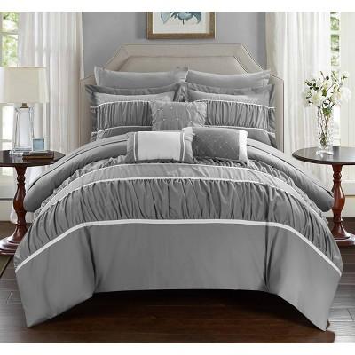 Queen 10pc Wanda Bed In A Bag Comforter Set Gray - Chic Home Design