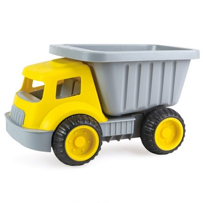 Hape E4084 Load and Tote Indoor Outdoor Toddler Kids Plastic Construction Dump Truck Sand Toy, Yellow, for Ages 18 Months and Older