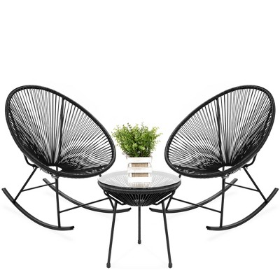 Best Choice Products 3-Piece All-Weather Patio Woven Rope Acapulco Bistro Furniture Set w/ Rocking ChairsTable