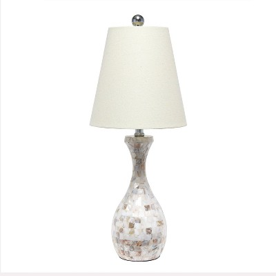 Malibu Curved Mosaic Seashell Table Lamp with Accents White - Lalia Home