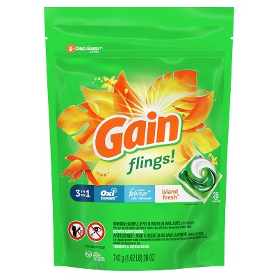 Gain Flings Liquid Laundry Detergent - Island Fresh Scent - 35ct