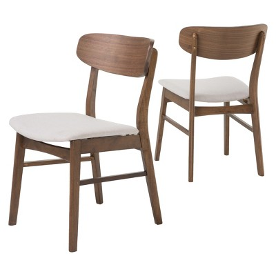 Lucious Dining Chair (Set of 2)- Light Beige/Walnut - Christopher Knight Home