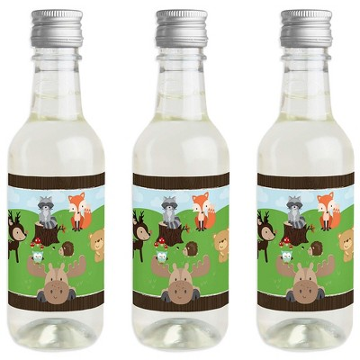 Big Dot of Happiness Woodland Creatures - Mini Wine and Champagne Bottle Label Stickers - Baby Shower or Birthday Party Favor Gift - Set of 16