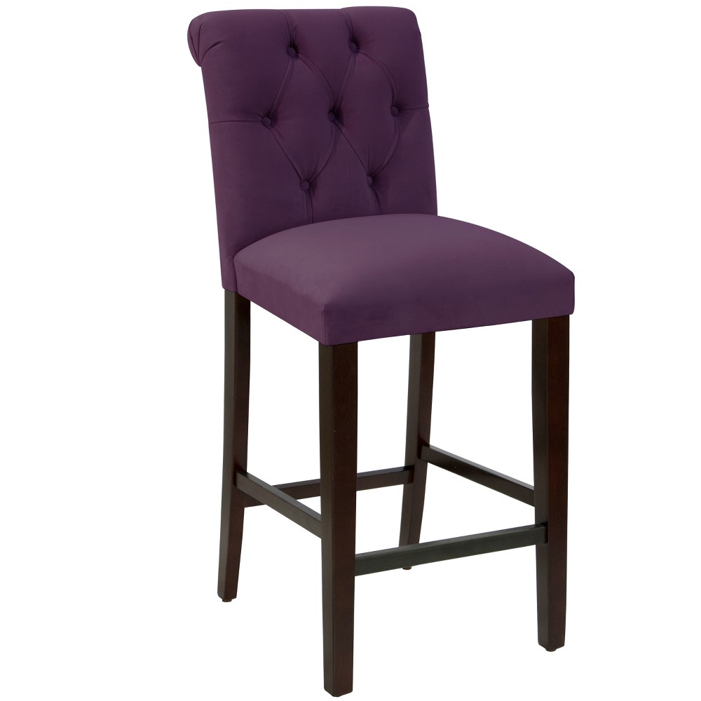 Anita Tufted Rollback Bar Stool Purple Velvet - Cloth & Co.