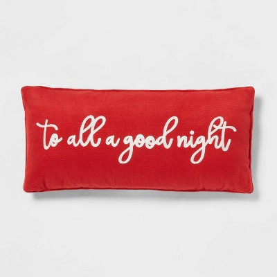 """26'' Oblong Flannel """"To All A Good Night"""" Decorative Throw Pillow Red - Threshold™"""