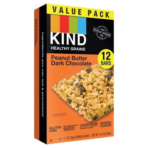 KIND Healthy Grains Peanut Butter Dark Chocolate Chunk, Gluten Free Granola Bars - 12ct - image 1 of 3