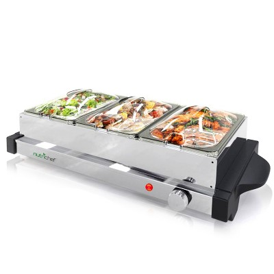 Pyle PKBFWM24 NutriChef Electric 3 Tray Cool Touch Portable Stainless Steel Buffet Server Hot Plate Food Warmer with Rotary Temperature Control Knobs