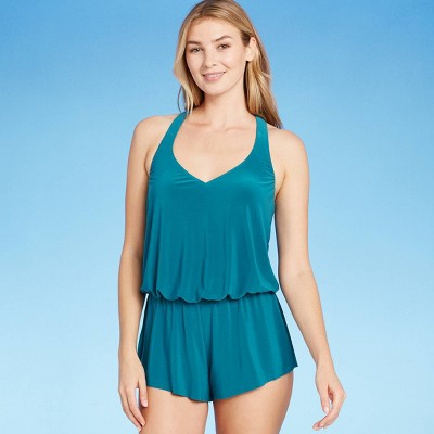 Women's V-Neck Romper - Aqua Green® Deep Sea Blue