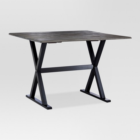 40 Square Drop Leaf Rustic Dining Table Gray Black Threshold