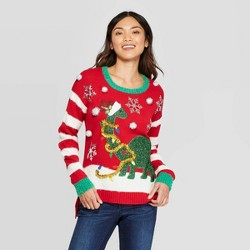 Women's Dinosaur Ugly Holiday Sweater - 33 Degrees (Juniors') - Red