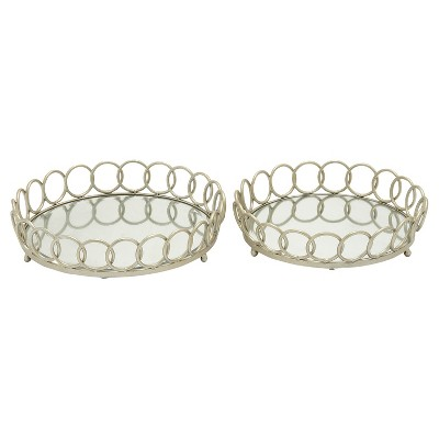 Modern Reflections Iron and Glass Mirror Round Ring Tray Set 2ct - Olivia & May
