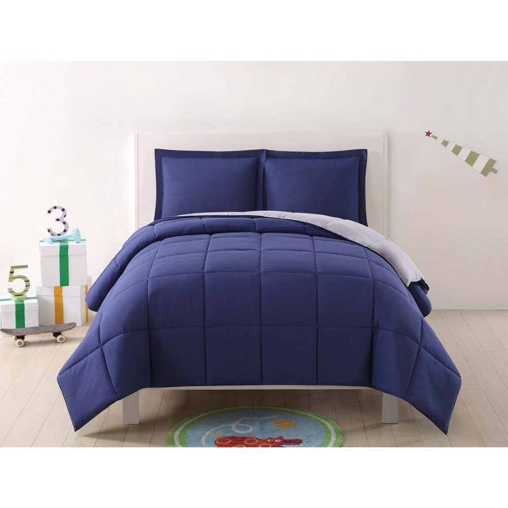 Twin Extra Long Anytime Solid Comforter Set Navy Gray My World