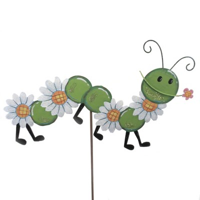 """Home & Garden 25.0"""" Daisy Worm Flowers Ooutdoors Round Top Collection  -  Decorative Garden Stakes"""