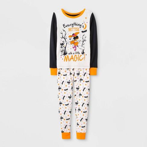 Girls' Minnie Mouse Halloween 2pc Pajama Set - White - image 1 of 1