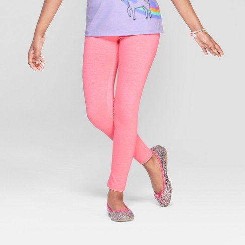 Girls' Leggings - Cat & Jack™ Neon Pink - image 1 of 3