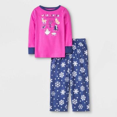 Toddler Girls' Fleece Winter Animal Print Pajama Set - Cat & Jack™ Pink