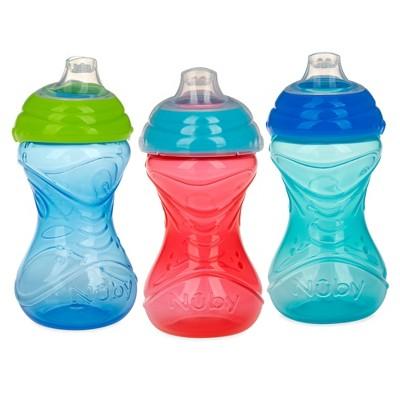 Nuby Cup 3pk Click-It Soft Spout  Cup - Aqua/Blue/Red - 10oz