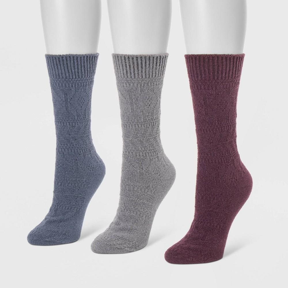 Image of MUK LUKS Women's 3pk Boot Socks - Blue One Size, Women's