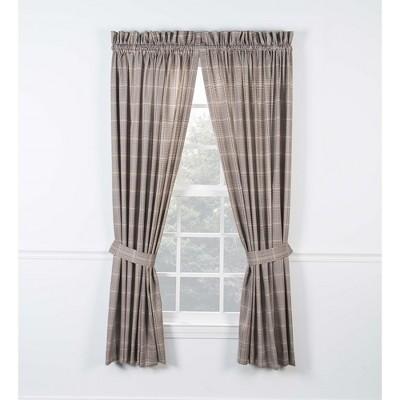 "Ellis Curtain Morrison High Quality 2-Piece Window Rod Pocket Panel Pairs With 2 Tie Backs - 90""x63"""