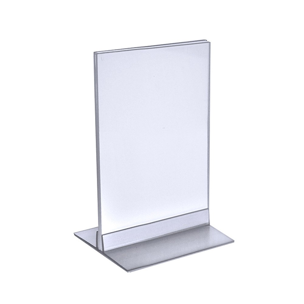 "Image of ""Azar 5.5"""" x 8.5"""" Acrylic Sign Holder with T-Strip Holder 10ct, Clear"""