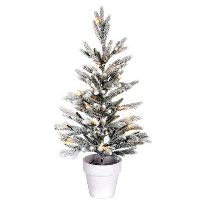 """Vickerman 24"""" x 14"""" Flocked Mica Pine Artificial Christmas Tree, Battery Operated Warm White LED Lights"""