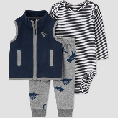 Baby Boys' Dino Vest Fleece Long Sleeve Top & Bottom Set - Just One You® made by carter's Gray 6M