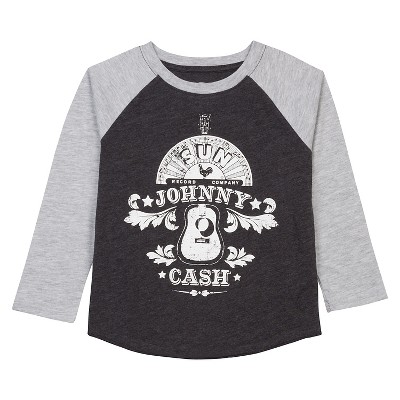 Baby Boys' Johnny Cash Long Sleeve Raglan T-Shirt - Heather Grey 12 M