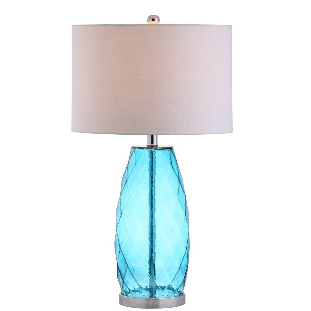26 5 34 Glass Metal Juliette Table Lamp Includes Led Light Bulb Blue Jonathan Y