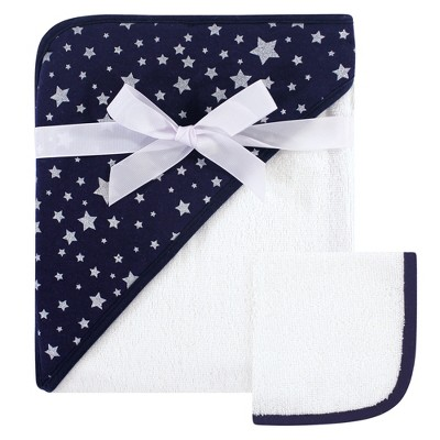 Hudson Baby Infant Cotton Hooded Towel and Washcloth 2pc Set, Navy Silver Star, One Size