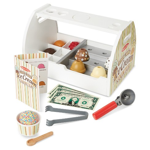 Melissa Doug Wooden Scoop And Serve Ice Cream Counter 20pc Play Food And Accessories