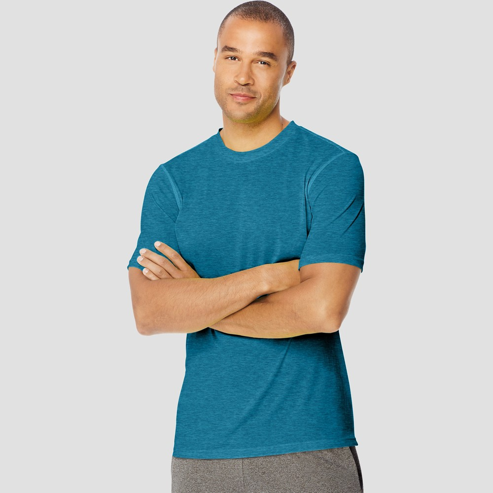 Hanes Men's Short Sleeve Sport Endurance T-Shirt - Blue Oasis Heather M