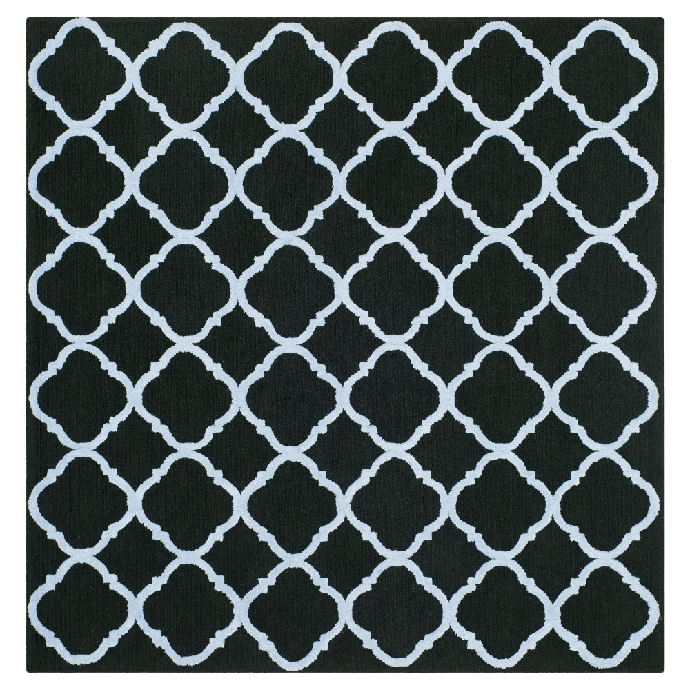 Black/Blue Geometric Hooked Square Area Rug 5'X5' - Safavieh