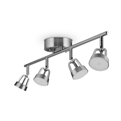 Smart Brushed Nickel 28W 4-Light White LED Wi-Fi Enabled Voice Activated Track Lighting Kit