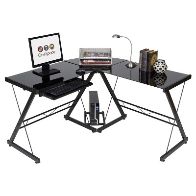 onespace 50 jn110500 ultramodern glass l shape desk black and clear Professional Artist Desk onespace 50 jn110500 ultramodern glass l shape desk black and clear target