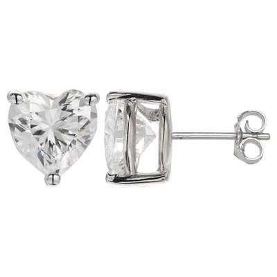 """Women's Sterling Silver Heart Cut Cubic Zirconia Prong Set Stud Earrings - Clear (1/4"""")"""