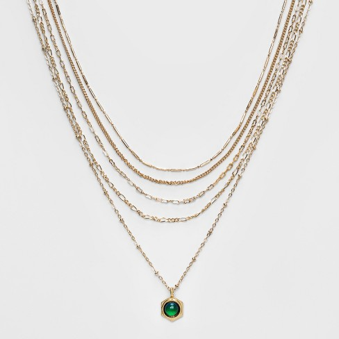 Mood Pendant on Layered Chain Choker - Wild Fable™ Gold - image 1 of 3