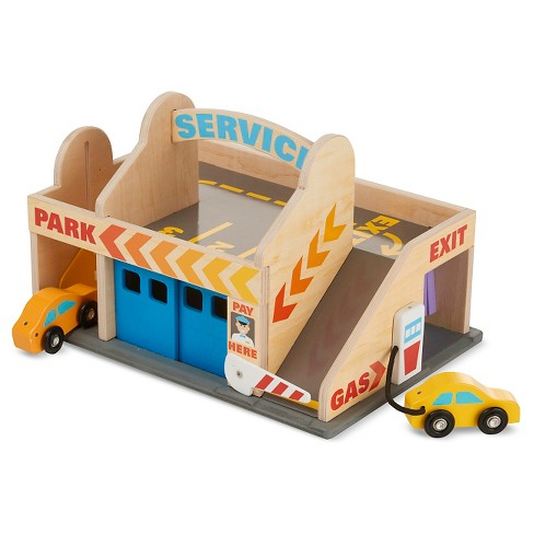 Melissa & Doug® Service Station Parking Garage With 2 Wooden Cars and Drive-Thru Car Wash - image 1 of 4