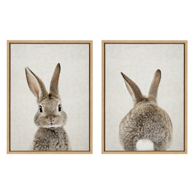 """(Set of 2) 18"""" x 24"""" Sylvie Bunny Portrait Framed Canvas Wall Art by Amy Peterson Natural - Kate and Laurel"""