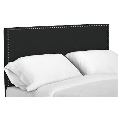 Adine Upholstered Linen Headboard - Midnight Black (King/CalKing)