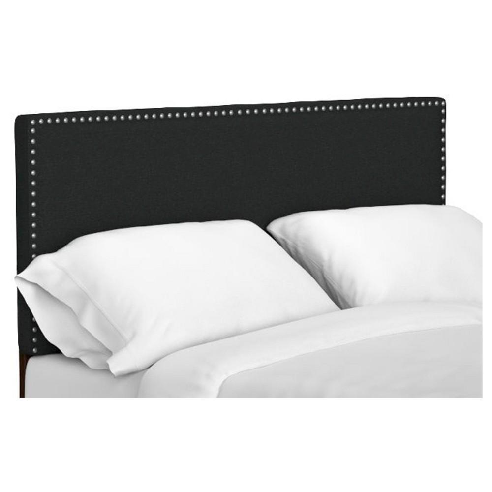 Image of Adine Upholstered Linen Headboard - Midnight Black (Full/Queen), Size: California King, Black Black
