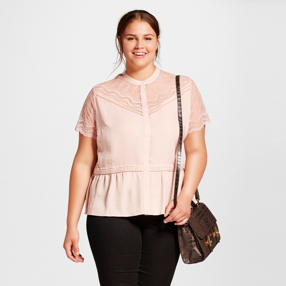 Women's Plus Size Lace Sleeve Peplum Top - Who What Wear New Blush 4X