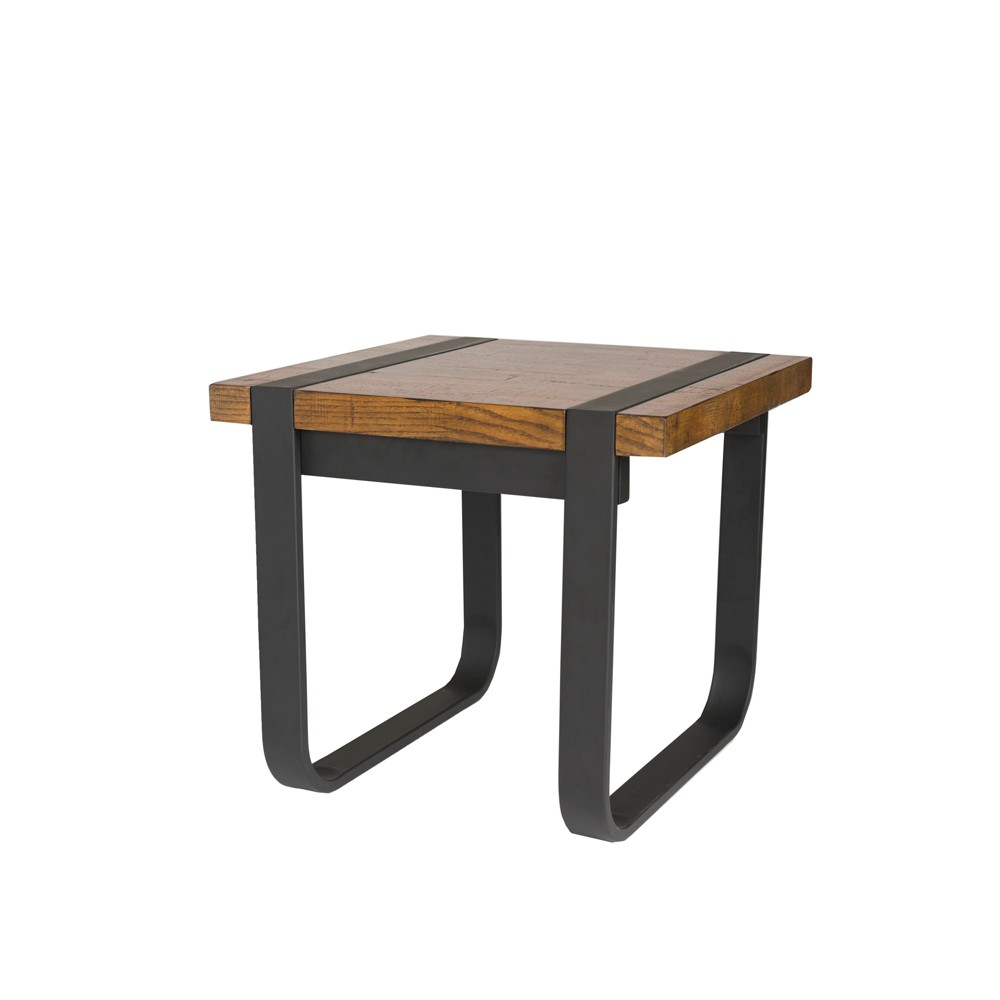 Brooklyn Metal and Wood Side Table Black and Java Yellow - Keswick