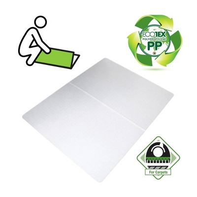 Polypropylene Foldable Chair Mat for Carpets Rectangular White - Floortex®