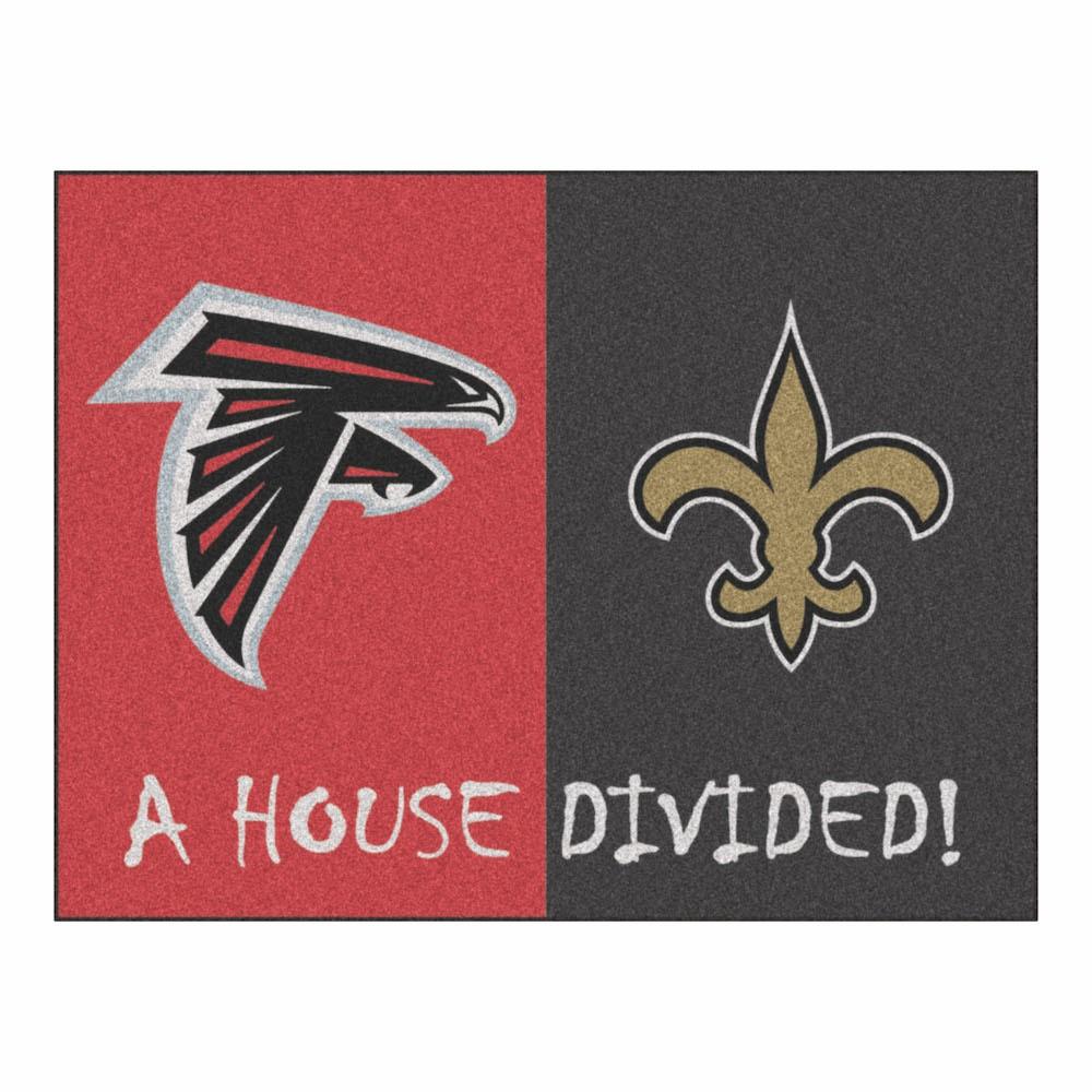 "Fan Mats NFL Atlanta Falcons/New Orleans Saints House Divided Rug 33.75""x42.5"""