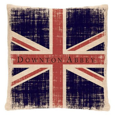 "Heritage Lace 18"" Square Downton Abbey British Union Jack Indoor Throw Pillow - Red/Blue"