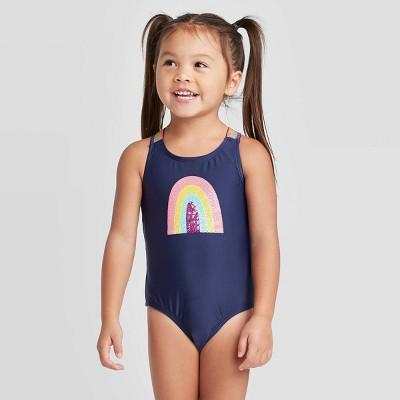 Toddler Girls' Rainbow Elastic Strap One Piece Swimsuit - Cat & Jack™ Navy 12M
